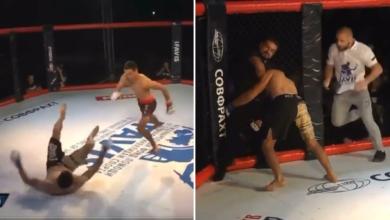 """(VIDEO) Ciężko znokautowany zawodnik rzucił się na sędziego. Arbiter udusił go do nieprzytomności! """"Został uśpiony dwa razy w ciągu 30 sekund"""""""