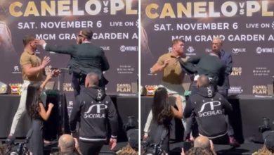 (VIDEO) Awantura na face-to-face! Canelo uderza po błyskawicznym uniku! Rozciął rywalowi twarz
