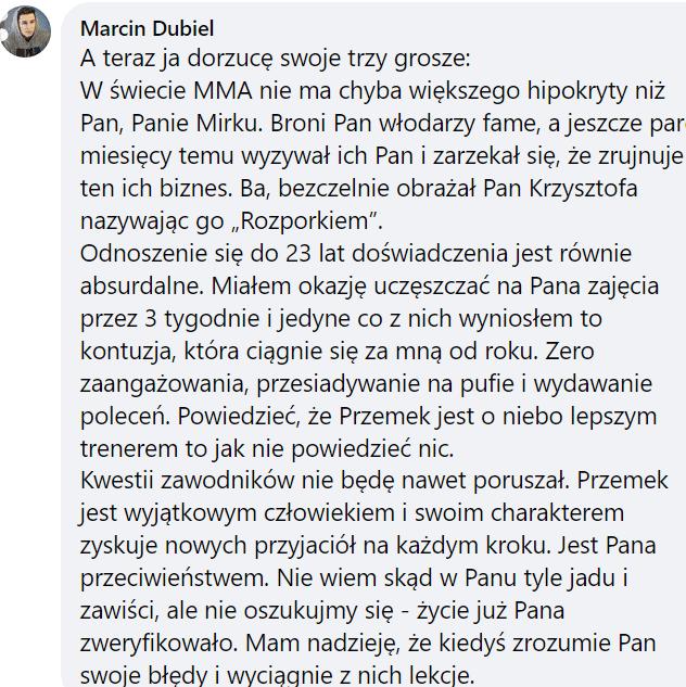 """Marcin Dubiel ostro o Mirosławie Oknińskim! """"W świecie MMA nie ma chyba większego hipokryty niż Pan. Życie już Pana zweryfikowało"""""""